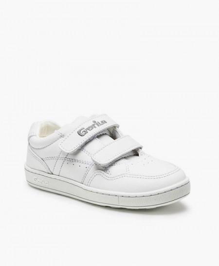 Zapatillas para el cole GORILA Blancas Piel Niña Niño