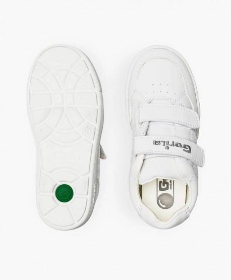 Zapatillas para el cole GORILA Blancas Piel Niña Niño 0 en Kolekole