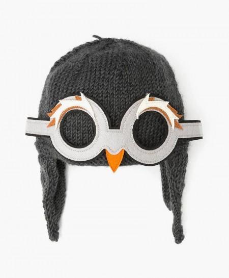 Gorro de Pingüino Hecho a Mano con Lana Merino para Niños
