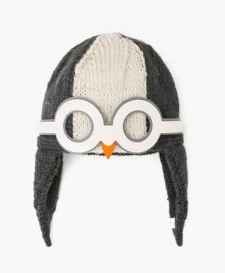 Gorro de Pingüino color Blanco y Carbón Hecho a Mano con Lana Merino