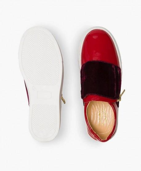 Zapatos Charol ELI Rojos estilo Deportivo de Piel para Niña en Kolekole