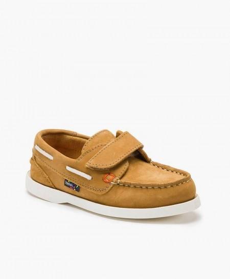 Zapatos Náuticos BEPPI Camel de Piel para Niño