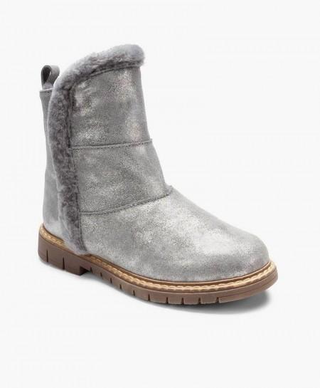 Zapatos ELI. Botas Gris de Piel y Pelo Natural para Niña 0 en Kolekole