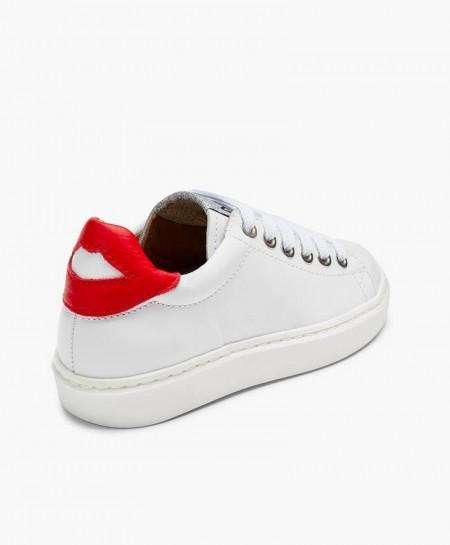 Sneakers MAÁ Blancos con Labios Rojos de Piel para Niña en Kolekole