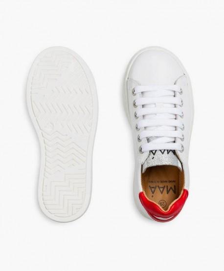 Sneakers MAÁ Blancos con Labios Rojos de Piel para Niña 3 en Kolekole