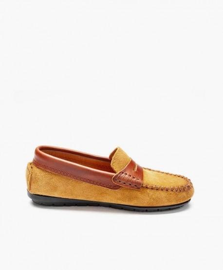 Zapatos Mocasines ATLANTA MOCASSIN Marrón Piel Ante Niña y Niño 3 en Kolekole