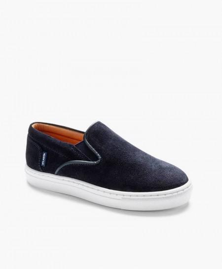Zapatos Sport ATLANTA MOCASSIN Azul Marino de Piel para Niño