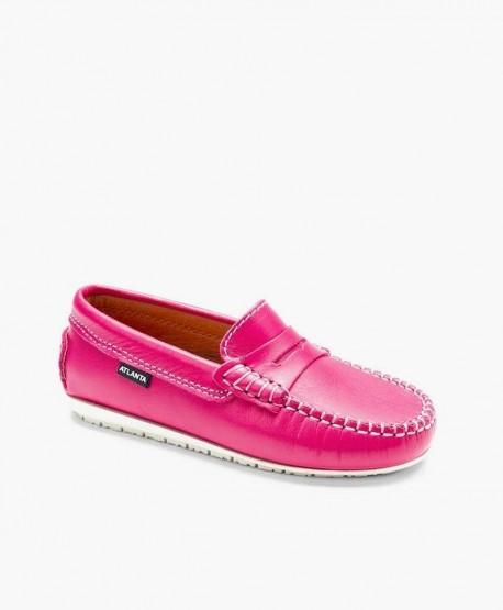 Zapatos Mocasines ATLANTA MOCASSIN Rosa de Piel para Niña 0 en Kolekole