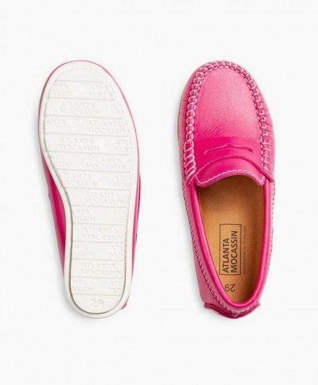Zapatos Mocasines ATLANTA MOCASSIN Rosa de Piel para Niña 3 en Kolekole
