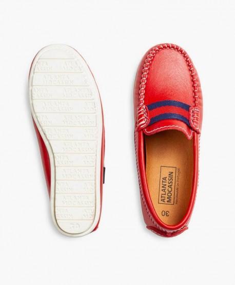 Zapatos Mocasines ATLANTA MOCASSIN Rojos de Piel para Niña 3 en Kolekole