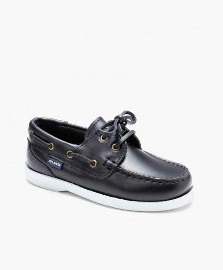Zapatos Náuticos ATLANTA MOCASSIN Azul Marino de Piel para Niño
