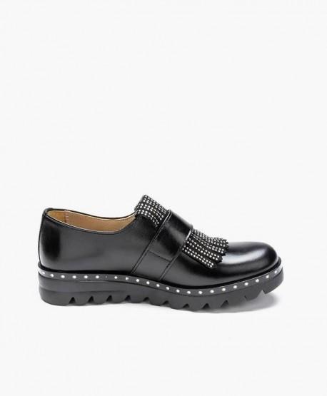 Zapatos ELI de Piel Negros con Hebilla para Niña 3 en Kolekole