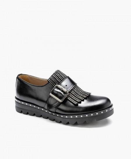 Eli1957 Zapato Negro Hebilla Piel Niña