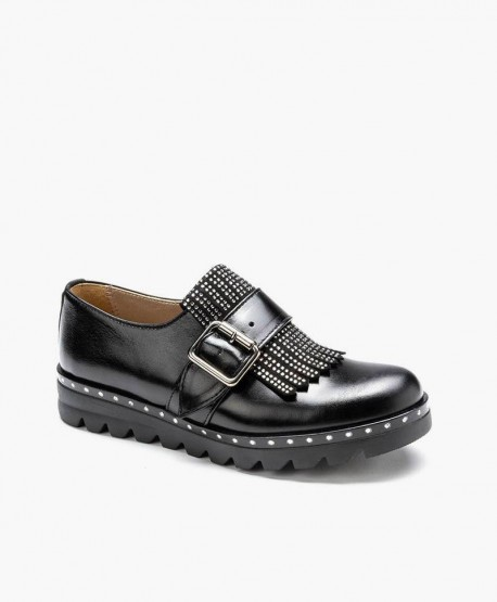 Eli1957 Zapato Negro Hebilla Piel en Kolekole