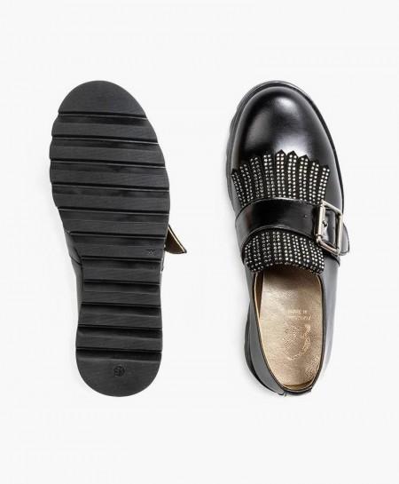 Zapatos ELI de Piel Negros con Hebilla para Niña 0 en Kolekole