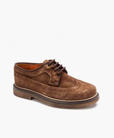 Eli1957 Zapato Blucher Clásico Marrón Piel Niño en Kolekole