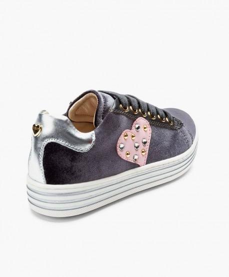 Sneakers TWIN-SET de Terciopelo en Piel y Corazón para Niña 0 en Kolekole
