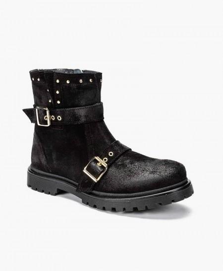 Zapatos ELI. Botas Moteras Negra de Piel para Niña 0 en Kolekole