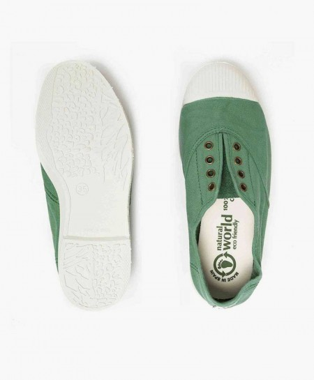 Zapatillas Eco NATURAL WORLD Lona Verde Chica y Chico
