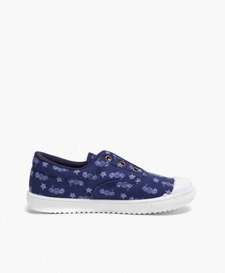 Zapatillas PETALOUS Azul con Caballitos de Mar Niña y Niño 3 en Kolekole
