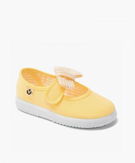 Zapatillas Merceditas Victoria Amarillas con Lazo para Niña