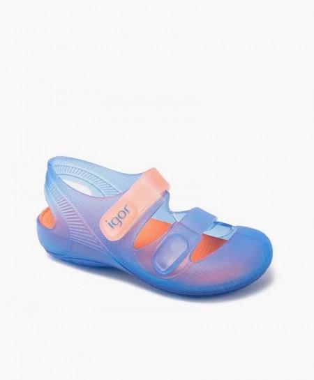 Sandalias Cangrejeras IGOR Bondi Azul Naranja para Niños