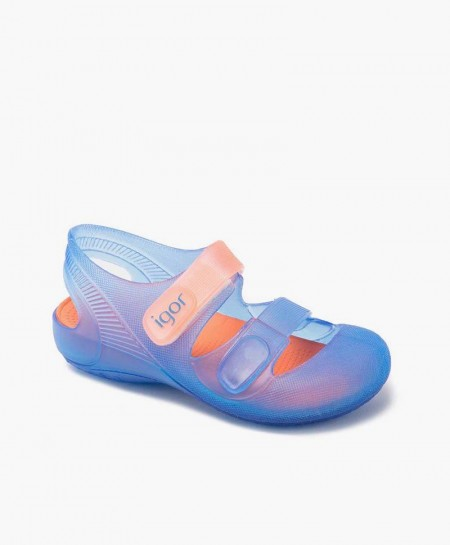Igor Sandalia Cangrejera Bondi Azul Naranja Velcro