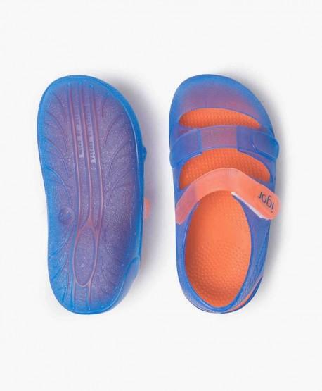 Sandalias Cangrejeras IGOR Bondi Azul Naranja Niña y Niño 0 en Kolekole