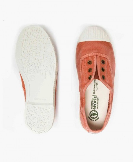 Zapatillas Eco NATURAL WORLD Lona Naranja Niña y Niño