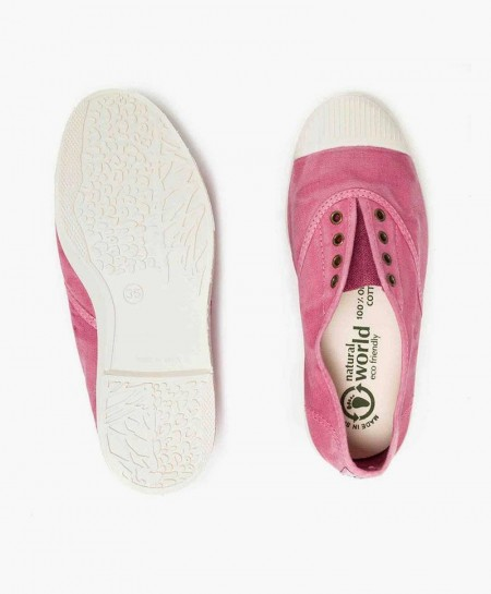 Zapatillas Eco NATURAL WORLD Lona Rosa Chica y Chico 0 en Kolekole