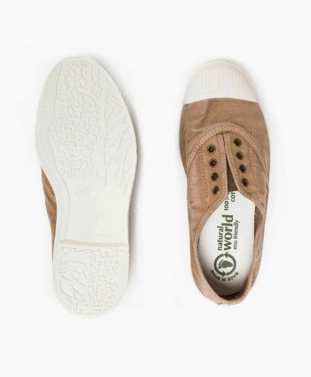 Zapatillas Eco NATURAL WORLD Lona Beige Chica y Chico