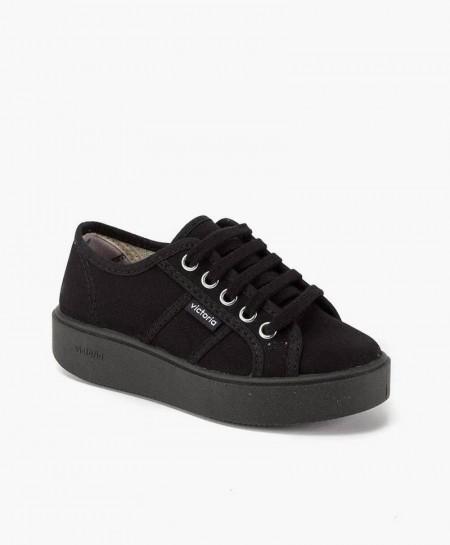 Zapatillas Victoria estilo Deportivo con Plataforma de Lona Negra para Chica y Mujer