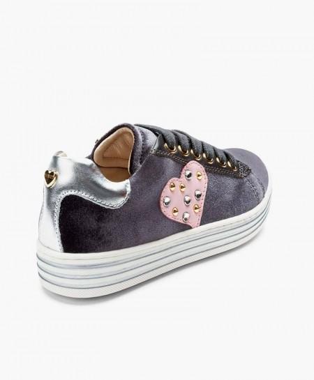Sneakers TWINSET de Terciopelo en Piel y Corazón para Chica y Mujer