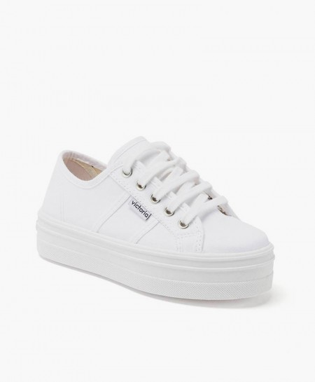Zapatillas VICTORIA Plataforma Lona Blancas Chica y Mujer
