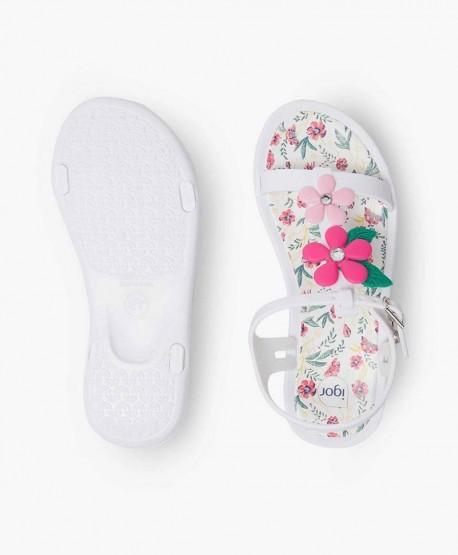 Sandalias Florales IGOR Blancas para Niña y Chica 0 en Kolekole
