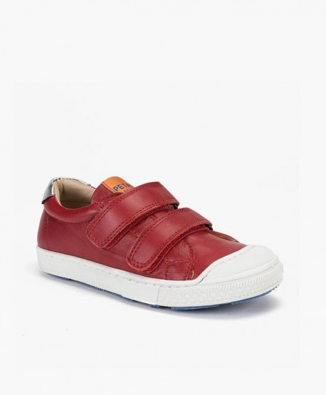 Petasil Zapato Casual Velcro Rojo Piel en Kolekole