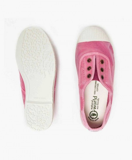 Zapatillas Eco NATURAL WORLD de Lona Rosa Niña y Niño