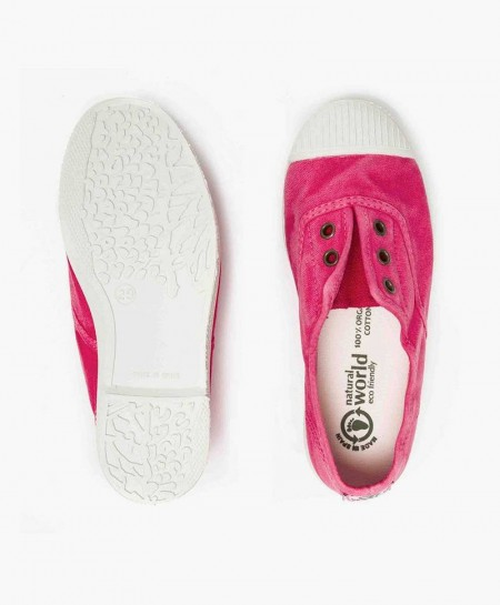 Zapatillas Eco NATURAL WORLD Lona Rosa Vivo Niña y Niño