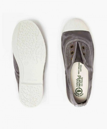 Zapatillas Eco NATURAL WORLD Lona Gris Niña y Niño