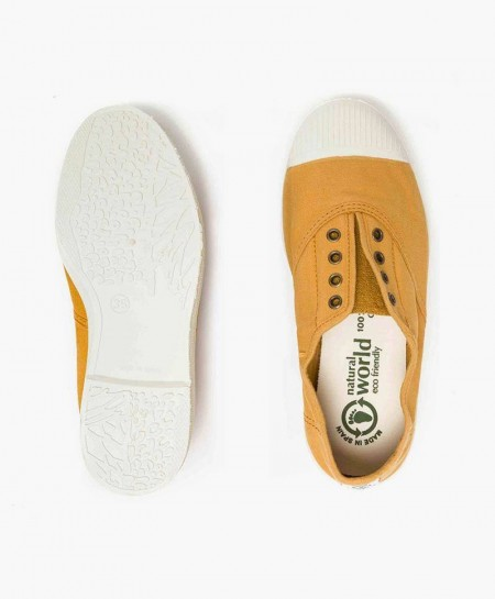 Zapatillas Eco NATURAL WORLD Lona Color Lino Chica y Chico