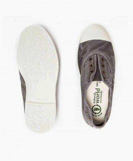 Zapatillas Eco NATURAL WORLD Lona Gris Chica y Chico