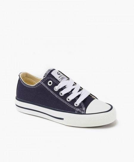 Zapatillas Victoria estilo Basket de Lona Azul Marino para Niña y Niño
