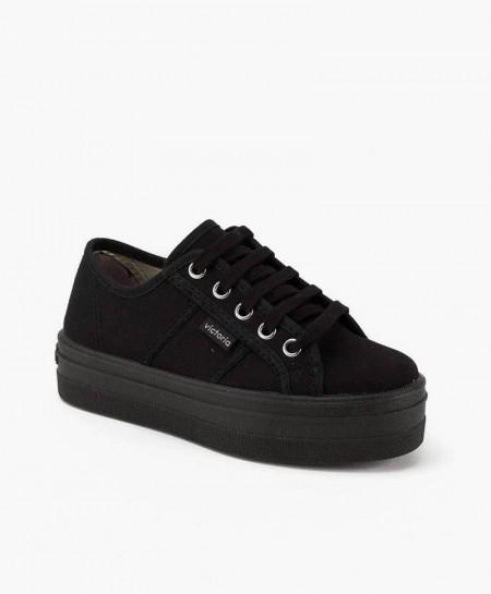 Zapatillas Victoria con Plataforma de Lona Negra para Niña