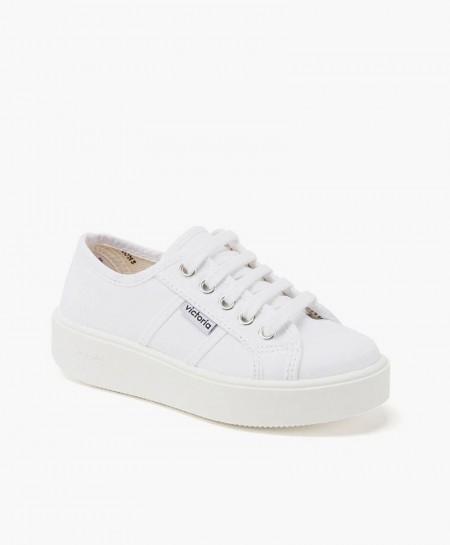 Zapatillas Victoria estilo Deportivo con Plataforma Lona Blanca para Niña