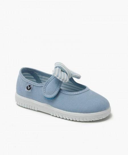 Zapatillas Merceditas Victoria Azul con Lazo para Niña