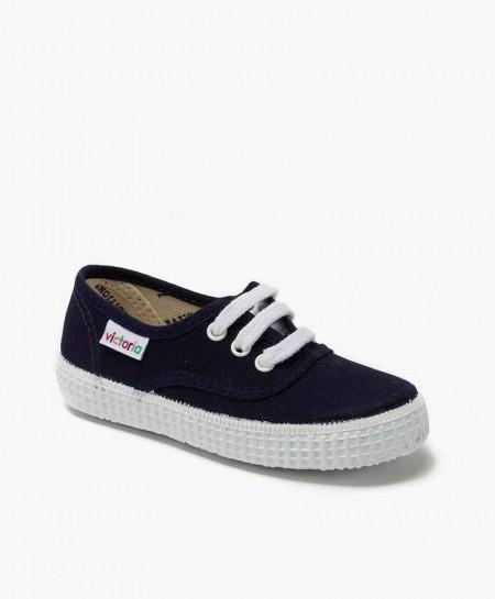 Zapatillas Victoria Clásicas de Lona Azul Marino para Niña y Niño