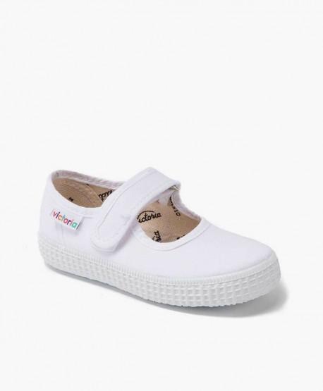 Zapatillas Merceditas VICTORIA Blancas con Velcro para Niña 0 en Kolekole