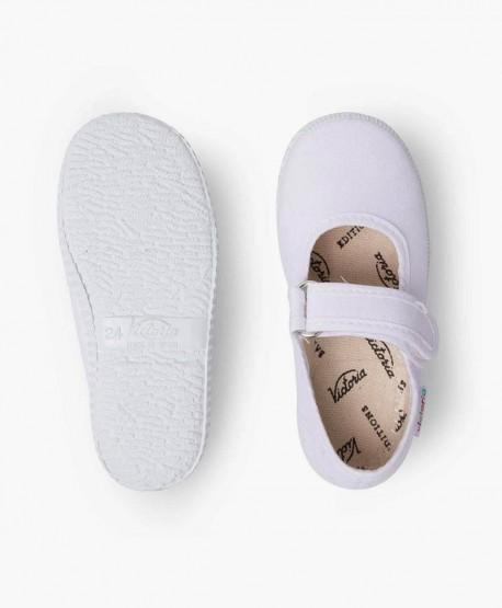 Zapatillas Merceditas VICTORIA Blancas con Velcro para Niña 3 en Kolekole