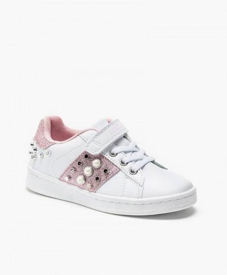 Lelli Kelly Sneaker Blanco Rosa Tachuelas Niña