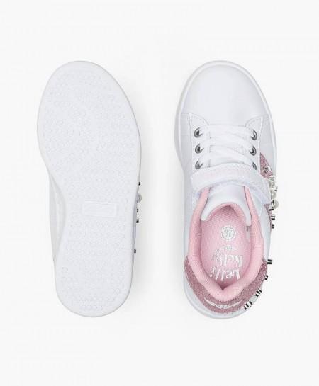 Sneakers LELLI KELLY Blanco y Rosa con Tachuelas para Niña